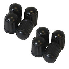 UNIVERSAL 8 PACK BLACK PLACTIC ALLOY WHEEL TYRE CAR BIKE CYCLE DUST VALVE CAPS