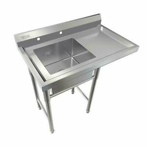 """Commercial Utility 39"""" Stainless Steel Sink Silver for Outdoor/ Laundry Room New"""