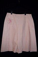 ..NWT $220 BCBG MAXAZRIA Pink Ivory Cotton Geometric Print Pleat A Line Skirt  8