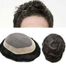 GM Mono Lace Men Toupee Durable Wigs Human Hair Poly Skin System Hairpiece D7-3