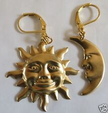 Sun And Moon Large Gold Tone Earrings For Pierced Ears
