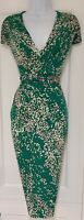 Womens Per Una Emerald Green Floral Draped 40s 50s Vintage Style Wiggle Dress 14