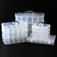 Clear Plastic Craft Beads Jewellery Storage Organiser Compartment Tool Box ----S