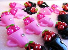 """20 Red & Pink Cherry In Cup Resin 1"""" Flatback Button/bow/craft/Candy House B105"""