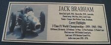 Jack Brabham Picture Plaque Gold 140x60mm Free Postage