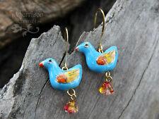 French Bluebird Earrings- turquoise, orange & yellow birds, gold plated hooks