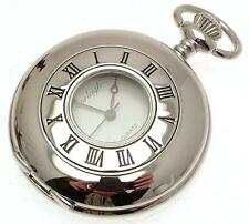 Silver Half Hunter Pocket Watches Quartz Mechanism