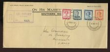 SOUTHERN RHODESIA 1946 VICTORY OHMS OFFICIAL ENVELOPE REGISTERED FIRST DAY COVER