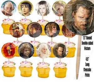 Lord of the Rings Cupcake Picks Cake Toppers -12 pcs, Gollum Frodo Gandolf Bilbo