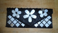 VINTAGE - NEW-MAD BY DESIGN CLUTCH PURSE-BLACK SILK WITH MOTHER OF PEARL ACCENTS