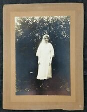 Vintage c 1930's Wedding Photo Bride with Veil & Gloves, Social History Record