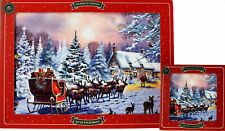 Set Of 4 Santa in Sleigh Christmas Dinner Place Mats And Coasters