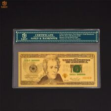 New $20 Dollar BankNote Collectible 24k Gold Plated with Bag & Certificate