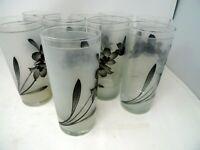 Noritake Design Frosted Drinking Glass Set Lot 9 Dogwood Pattern Pewter 12 oz.
