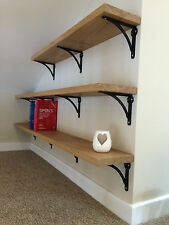 Solid Oak floating shelf, wooden shelf, free concealed brackets, cut to measure
