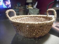 Brown Glazed Wicker Basket, Oval, Tapered, Good Condition - side handles W LINER
