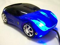 Blue Wired Car Shape USB 3D 800 DPI Optical Mouse Mice For PC/Laptop