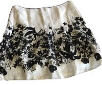 Ann Taylor Loft womens black white Floral 100% Linen Pleated Skirt Size 10