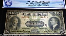 1931 Bank Of Montreal $10 Large Canadian Chartered banknote