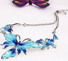 Fashion Women Jewelry Butterfly Pendant Bib Lady Statement Necklace Earrings Set