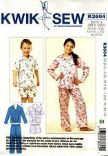 Kwik Sew Sewing Pattern K3604 3604 Childs Kids Sleepwear Pyjamas Pajamas 4-14
