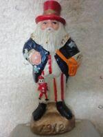 Cast Iron Patriotic Santa Claus Stripes Star Stocking Holder - Unique - 1912