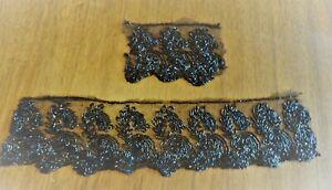 2 pièces de tulle ancien brodé de perles de jais , 30 cm + 10 cm - largeur 8 cm