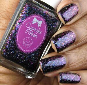 CUPCAKE POLISH Indie Aurora Borealis Black Jelly Holographic Flakies Nail Enamel