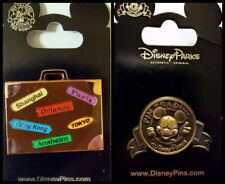 Disney Parks 2 Pin Lot Mickey Around the World Suitcase + Trading bronze tone