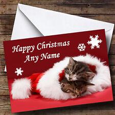 Two Kittens Sleeping In Hat Christmas Greetings Card Personalised