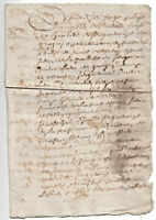 1665 Post medieval RED INK signed manuscript document ORIGINAL stamp 4P DAMAGED