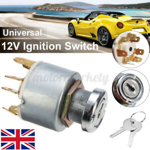 12V Universal Ignition Switch With 2 Keys 4 Positions For Car Motorcycle Boat