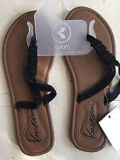 Kustom ladies sandal blk faux suede 7