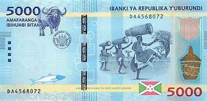 Burundi 5000 Francs 2015 Unc Pn 53a