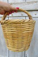 Vintage French circular wicker gathering shopping basket 4 flower display veg
