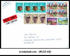 ARGENTINA - 2012 REGISTERED ENVELOPE TO AUSTRALIA WITH 13-STAMPS- OPEN FROM SIDE