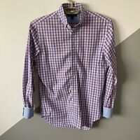 Banana Republic Mens Small S Soft Wash Slim Fit Dress Shirt Plaid Flip Cuff