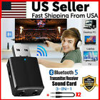 3 in 1 USB Bluetooth 5.0 Audio Transmitter Receiver Adapter For TV PC Car 3.5mm