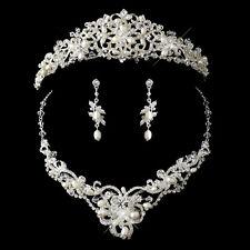 Bridal Silver Freshwater Pearl Swarovski Crystal Jewelry Set & Tiara Headpiece