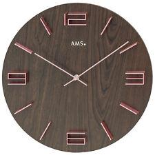 Ams 9591 Cuarzo de Reloj Pared Redonda Análogo Moderno Madera Nogal Colores/Rosa