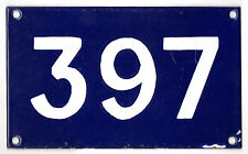 Old Australian used house number 397 door gate enamel metal sign in French blue