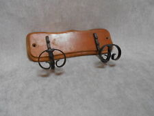 French Vintage wooden COAT & HAT Rack w/ 2 scrolled PEGS