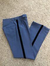 """Vintage 70's Men Tuxedo Pant Blue Gray Velvet Trim Side Of Leg 28"""" Waist"""