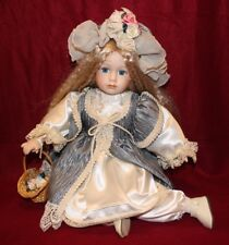 """Beautiful Victorian Dress For 10"""" Sitting Doll+FREE Blue Eyes Porcelain Doll."""
