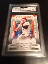 Matthew Stafford rc 2009 09 Playoff prestige extra 171/300 Gma graded 8 Lions