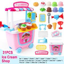 31 pcs Ice cream Supermarket shop Pretend Dessert Toys Set Shop Cart Horn Spoon