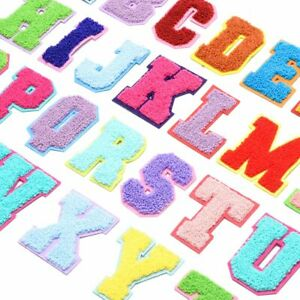 Multi Colour Chenille Letter Patch Patches Sew On Towel Alphabet Embroidery
