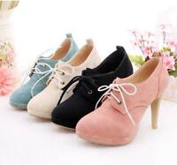 Retro Women's Lace Up Platform Round Toe High Heel Pumps Shoes Boots Stiletto
