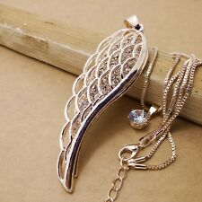 Fashion Gold-plated Wings Mosaic crystal chain long necklace XL225