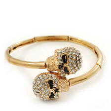 Clear Diamante 'Double Skull' Flex Bangle Bracelet In Gold Plating - Adjustable
